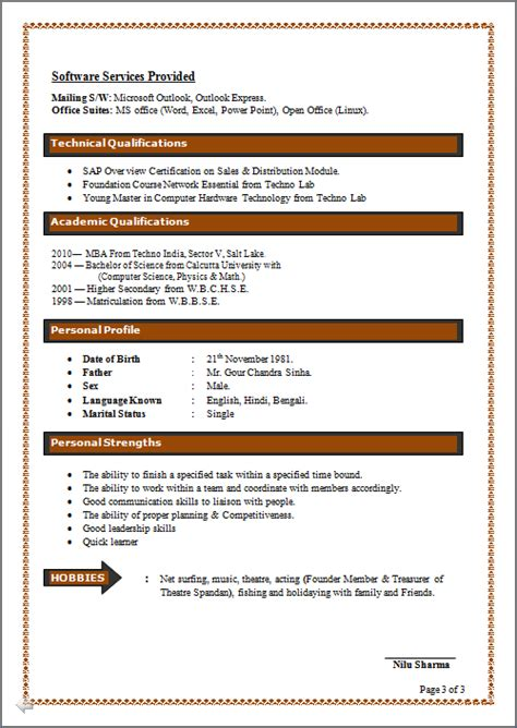 excellent resume templates 2014 resume co excellent resume sle of mba systems marketing b sc computer sc