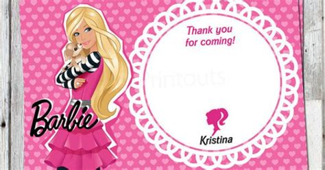 barbie   card printable birthday party