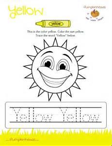 Color Yellow Worksheets Preschool