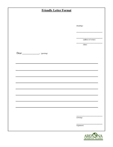 friendly letter format fillable printable