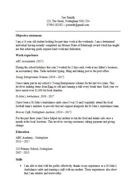 cv template for a 13 14 or 15 year free in