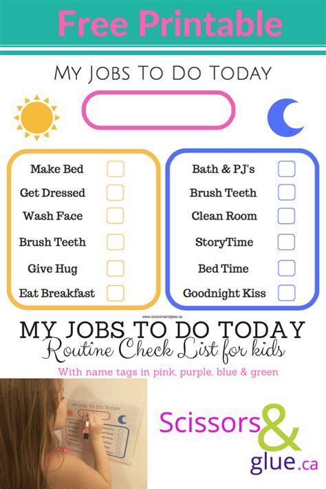 Jobs To Do Today Routine Check List for Kids Scissors