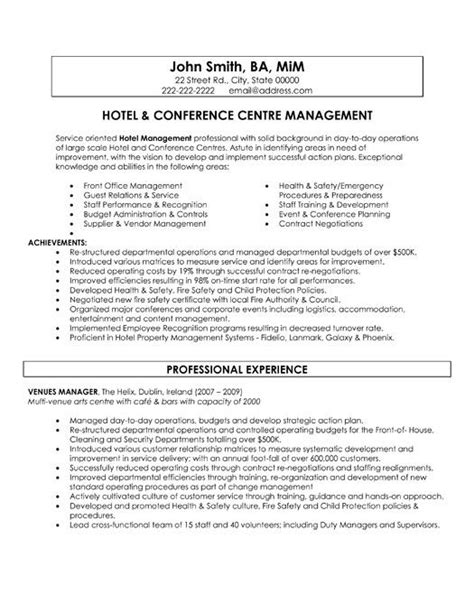 Hospitality Sle Resume by A Resume Template For A Hotel And Conference Centre