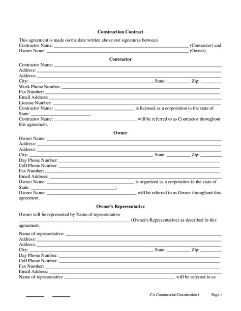 Contractor Drawing Templates by Construction Contract Template Real Estate Forms