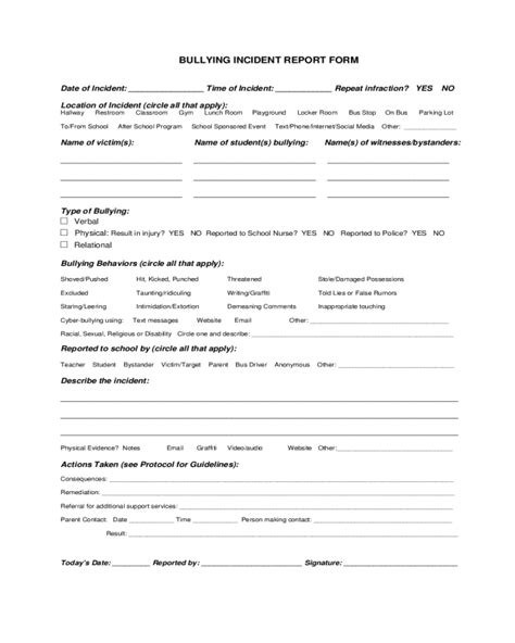 bullying report form fillable printable