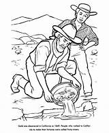 Gold Coloring Pages California Rush 1849 Miner History Miners Panning Mining Printables Draw Printable Usa Verse Bible Children Colouring Google sketch template