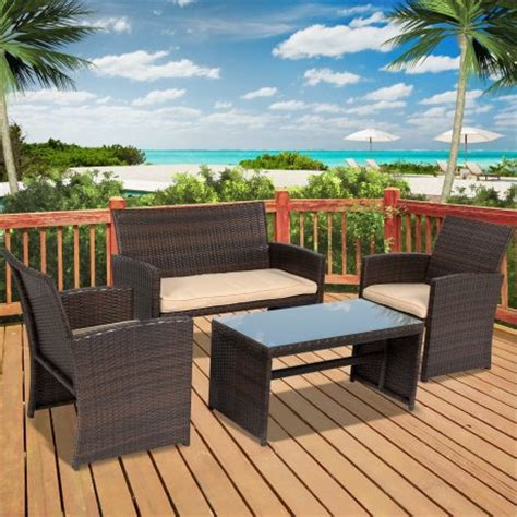 best choice products 4pc wicker outdoor patio furniture
