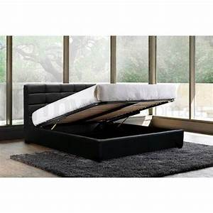 Pierre Queen PU Leather Gas Lift Bed Frame in Black Buy