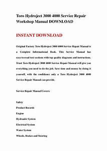 Toro Hydroject 3000 4000 Service Repair Workshop Manual