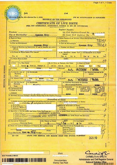 philippines birth certificate printable birthday