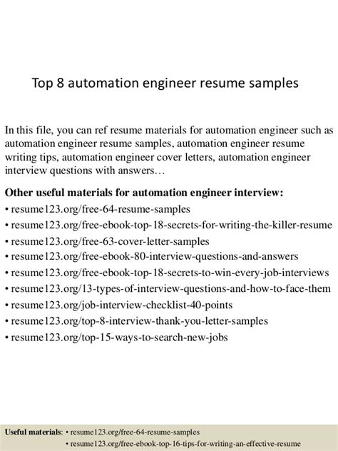 top 8 automation engineer resume sles