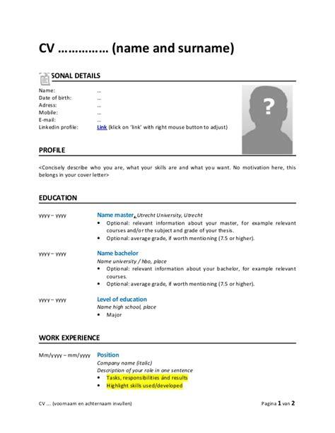 Cv Englisch Vorlage by 15 Englisch Cv Vorlage Exemple Cv Etudiant