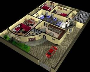 Plan De La Maison Et Design D U0026 39 Int U00e9rieur 3d Mod U00e8le 3d