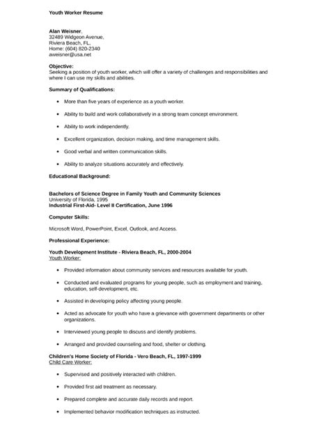 professional youth worker resume template