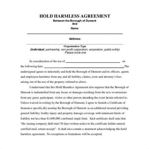Hold Harmless Waiver Template by 30 Sle Hold Harmless Agreement Templates To