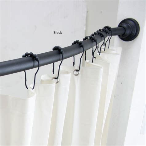 curved adjustable shower rod with vinyl shower liner and