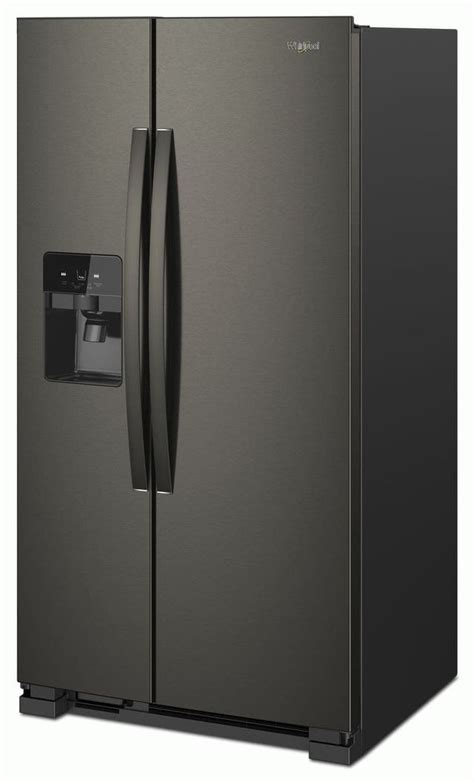 whirlpool  cu ft side  side refrigerator fingerprint resistant black stainless
