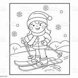 Coloring Winter Sports Skiing Cartoon Outline Culture Entertainment Arts Vector Russia Child sketch template
