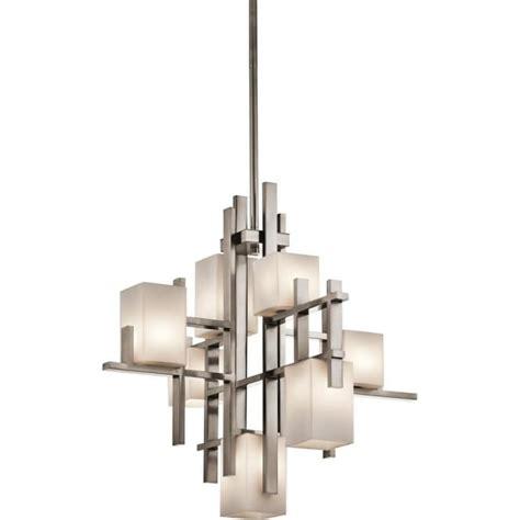 modern deco chandelier pewter criss cross bars opal