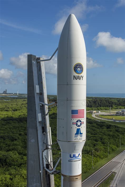 Photos: Atlas 5 rocket positioned on launch pad for Navy ...