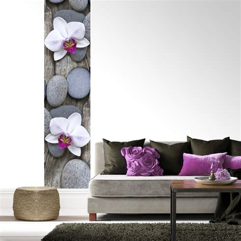 l 233 d 233 coratif en papier peint tiss 233 galets et orchid 233 e