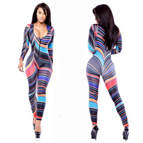 colorful jumpsuit ful striped bodycon jumpsuit style slim v neck