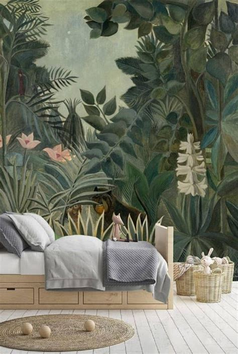 peel  stick wallpaper leaves jungle wallpaper kids