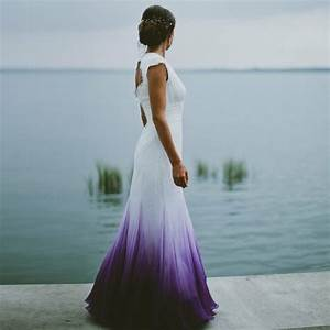 a line v neck open back ombre purple chiffon wedding dress With purple ombre wedding dress