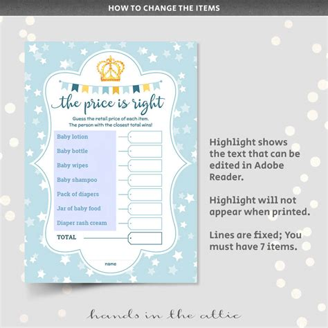 price   baby shower game editable hands