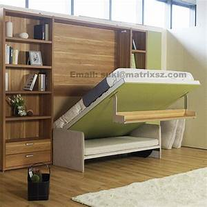 Fold down sofa wall bedwall bed with sofa and bookshelf for Flip down sofa bed