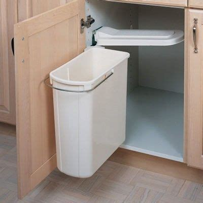 kitchen organization swing out cabinet trash can under