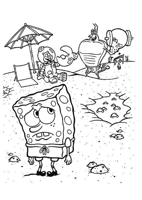 dibujo  colorear de bob esponja en la playa
