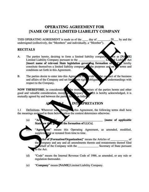 llc operating agreement  real estate development