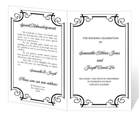 half fold wedding program templates free free software