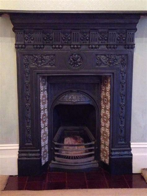 complete edwardian cast iron fireplace  grate