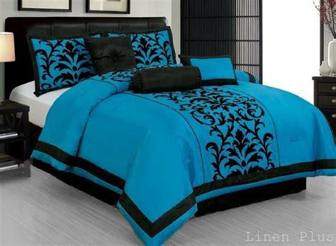Black And Aqua Bedding by Turquoise Black Comforter Set Dt6 Linen Plus Collection