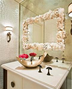 How to decorate a bathroom mirror frame with shells 5 for Kitchen cabinets lowes with seashell wall art craft