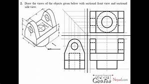 Engineering Drawing Tutorials    Orthographic Drawing With Sectional Front  U0026 Side View  T 7 2a