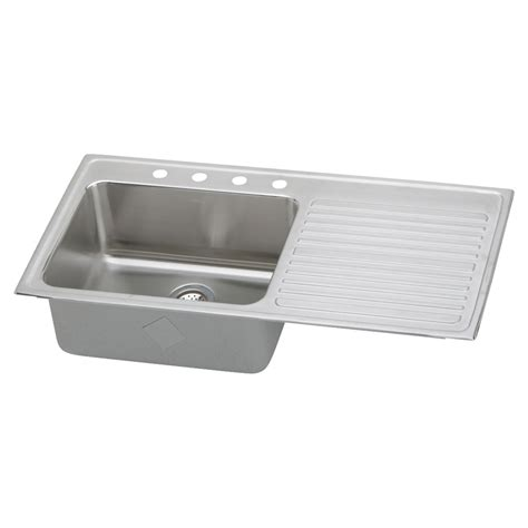 drop in stainless steel sink with drainboard shop elkay gourmet 22 in x 43 in lustertone single basin