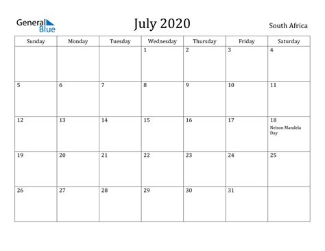 july  calendar south africa