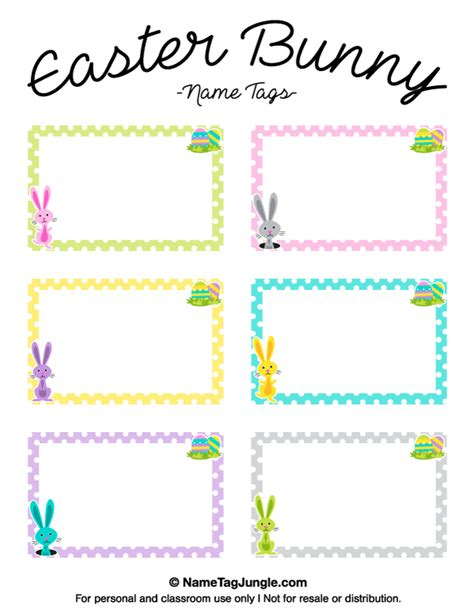 Easter Name Tags Template by Printable Easter Bunny Name Tags