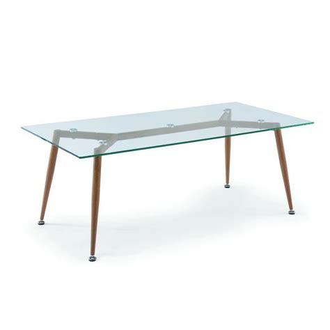 table basse verre bois table basse en verre pieds en bois style scandinave