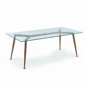 Table Plateau Verre Pied Bois : table basse en verre pieds en bois style scandinave achat vente table basse table basse en ~ Melissatoandfro.com Idées de Décoration