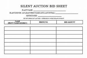 Silent Auction Bid Sheets Free Blank Silent Auction Bid Sheet Silent Auction Bid Sheets