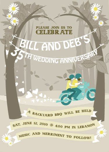 drawings  motion  wedding anniversary party invitation