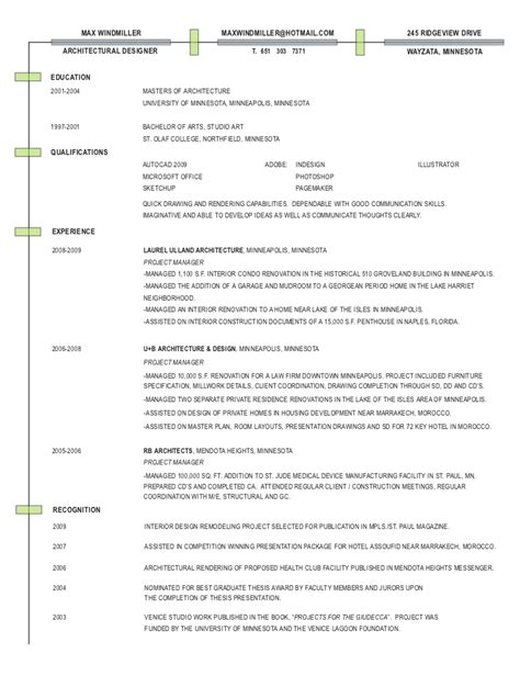Architecture Resume Exlearchitecture Resume Exles by Architecture Resume