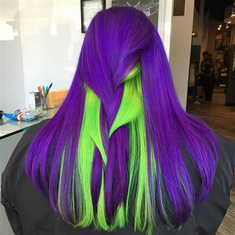 Violet And Neon Green Hair Hair Colors Ideas