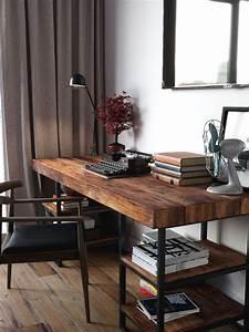 Schreibtisch Dunkles Holz : edler dunkler holz schreibtisch mit b chern und schwarzer schreibmaschine wohnen ~ Yasmunasinghe.com Haus und Dekorationen