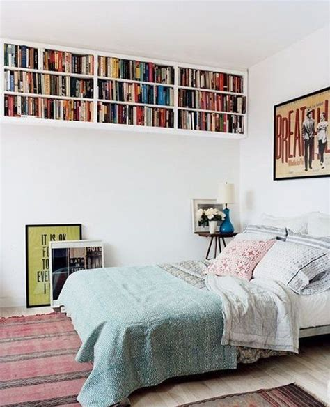 small bedroom high ceiling books storage home decorating