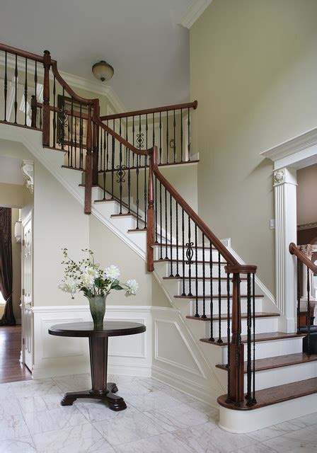 Dramatic Entry Way with Staircase   Traditional